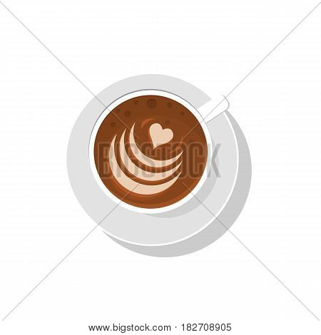Coffee cup. Vector illustration. Latte art. Cappucino coffee cup. Top view. Heart drawing. Hot drink. Americano latte espresso cappuccino macchiato mocha art drawings on coffee cream