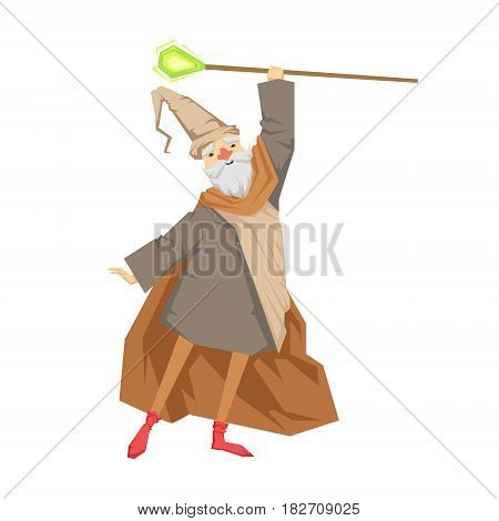 Old wizard with magic staff. Colorful fairy tale character Illustration isolated on a white background