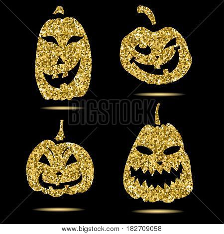 Halloween sparkley pumpkin with scary face on background.