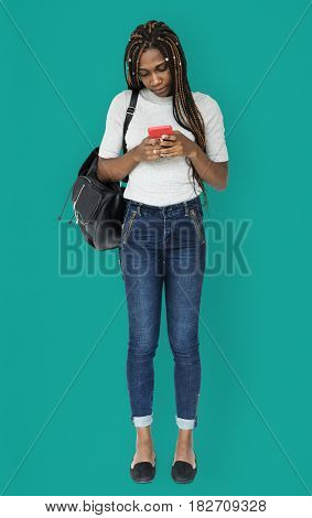African woman using smart phone device for connection
