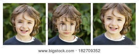Sequence of three images with a happy child in the park