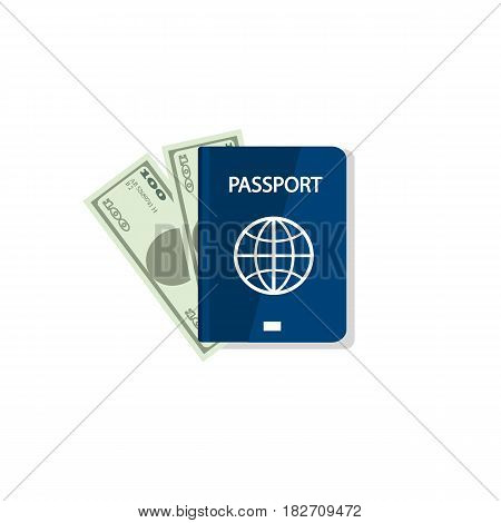 Passport And Money. Vector Illustration. Blank Blue Passport Background On White Background. Concept