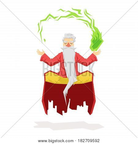 Levitating magician with a magic ball. Colorful fairy tale character Illustration isolated on a white background