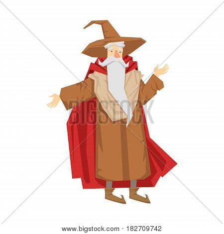 Old bearded wizard in the pointed hat. Colorful fairy tale character Illustration isolated on a white background