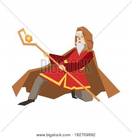 Old wizard holding magic staff. Colorful fairy tale character Illustration isolated on a white background