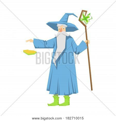 Old bearded wizard in a blue pointed hat holding magic staff. Colorful fairy tale character Illustration isolated on a white background