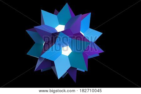 Blue polyhedron on the black background