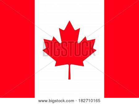 Canada flag official colors and proportion correctly. High detailed vector flag of Canada.