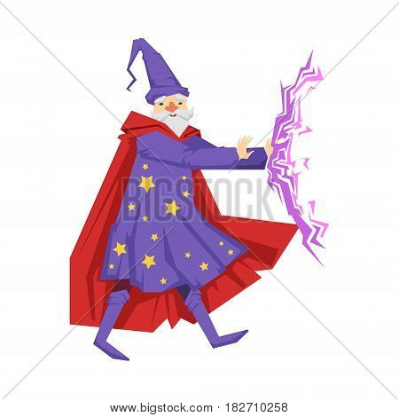 Magician in a purple robe in action. Colorful fairy tale character Illustration isolated on a white background