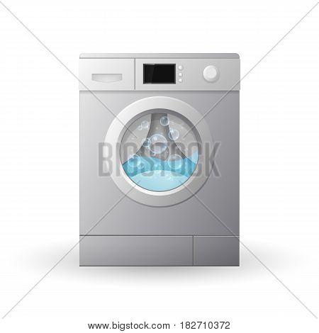 Closed washing machine isolated on white background. 3d Vector illustration.