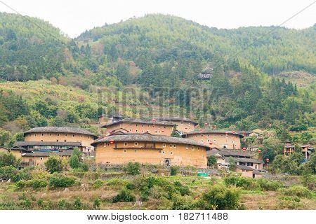 Fujian, China - Jan 03 2016: Tianluokeng Tulou Cluster At Tianloukeng Tulou Scenic Spots In Fujian T