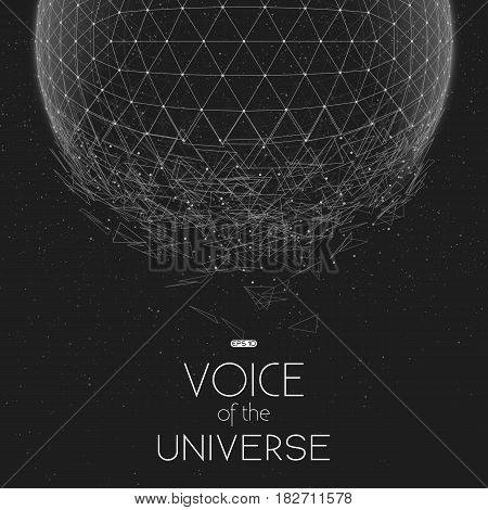 Crashing grayscale space sphere. Abstract vector background with tiny stars. Glow of sun from the bottom. Abstract space geometry. Sparkles of alien stars on the backdrop. Disintegration of cyber sphere.