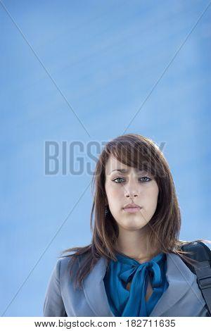 Serious mixed race businesswoman