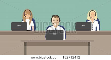 Web banner of call center workers. Young man and women in headphones sitting at the tables on a green background. It can be used for websites. Raster copy.