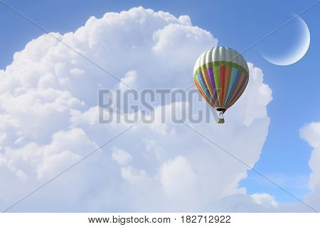 Aerostat flying above clouds . Mixed media