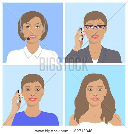 Vector avatar set. Business woman with glasses, talking on the mobile phone. Call-operator in headsets. European smiling girl talking on the telephone. Vector flat icons.