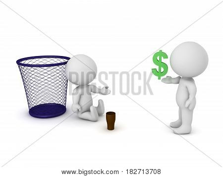 3D Character giving money to homeless person. Image depicting poverty.
