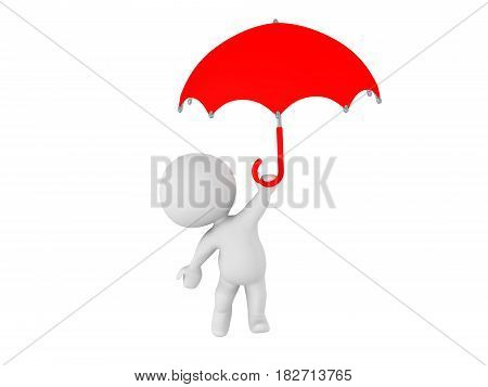 3D Character flying away holding an umbrella. The umbrella is red.