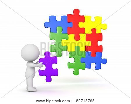 3D Character placing a puzzle piece into jigsaw puzzle. The piece fits in with the other pieces.