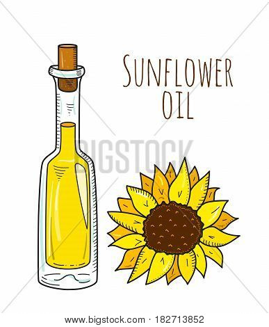 Colorful hand drawn sunflower bottle. Isolated cute bottle with healthy cooking oil and sunflower. Sketchy cartoon illustration for restaurant, organic shop. Glass jug with cork.