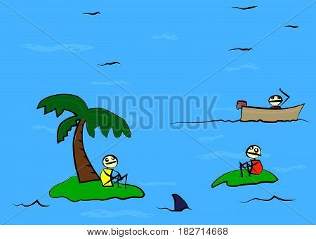 Cartoon doodle two shipwrecked person on deserted island found by a third.
