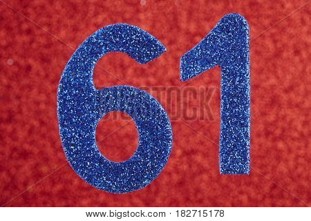 Number sixty-one blue color over a red background. Anniversary. Horizontal
