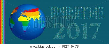 Gay Pride 2017 poster rainbow spectrum flag, homosexuality. LGBT community rights concept. Cartoon parade announcement banner, placard, invitation card. Symbol gay and lesbian equality. Vector.