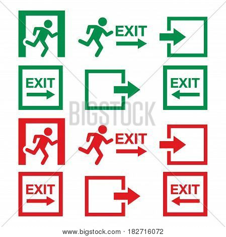Emergency exit sign, warning icons vector set in green and red