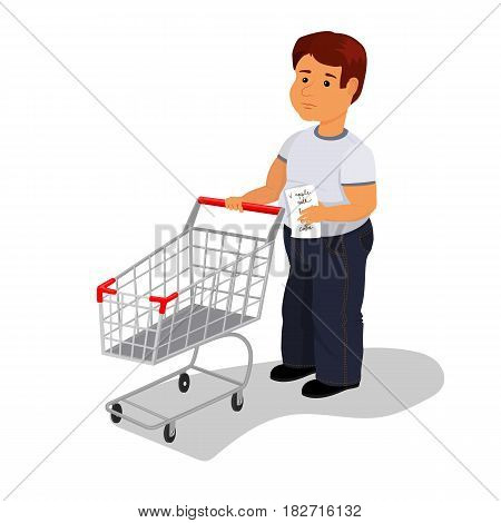 Vector illustration of thick man with wish shop list and empty shopping cart in supermarket. Isometric style vector illustration isolated on white background.
