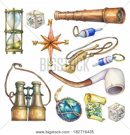 Set of nautical objects. Hand drawn watercolor painting on white background.