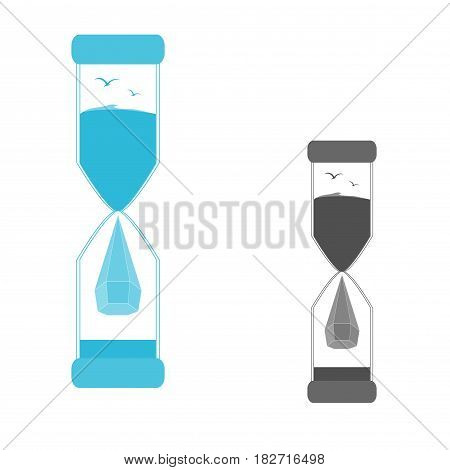 The logo is an hourglass. Logo drop of water. Saving of water. Water droplet icon .