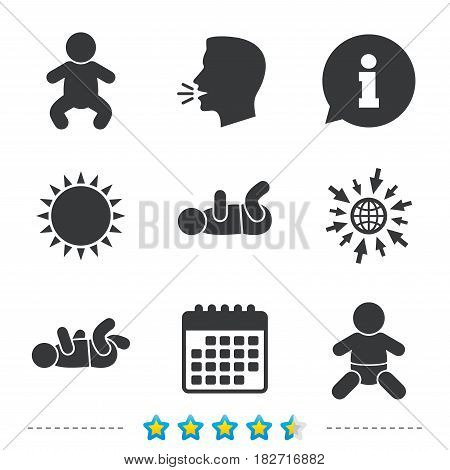 Newborn icons. Baby infant or toddler symbols. Child silhouette. Information, go to web and calendar icons. Sun and loud speak symbol. Vector