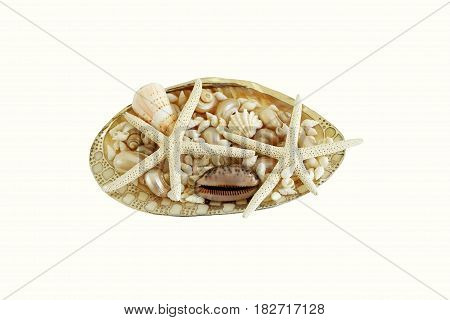 sea shell nacre decorated with a thin sheet of silver and with shells and starfish