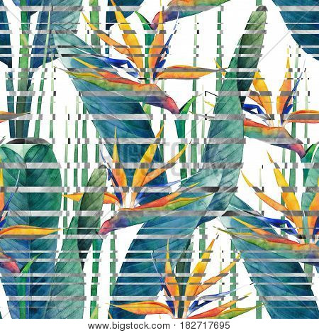 Watercolor strelitzia seamless pattern with glitch effect. Hand painted exotic leaves and flowers
