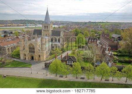ROCHESTER, UK - APRIL 14, 2017: View of the Cathedral from the Castle with Spring colors