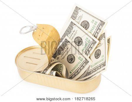 US dollars bills in metal can