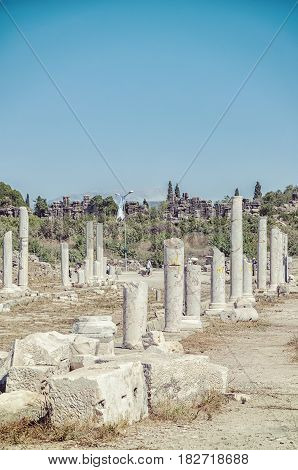 Ancient columnated street ruins from the Turkish town of Side.
