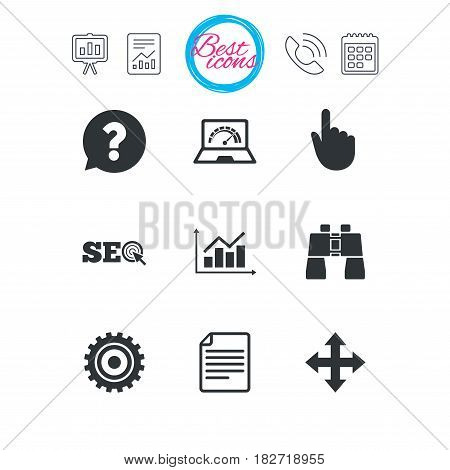 Presentation, report and calendar signs. Internet, seo icons. Analysis chart, page and computer signs. Question speech bubble symbol. Classic simple flat web icons. Vector