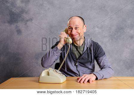 Man Has A Good,  Phone Call