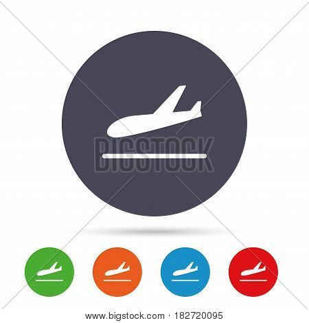 Plane landing icon. Airplane transport symbol. Round colourful buttons with flat icons. Vector