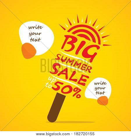big summer sale banner design like ice cream shape