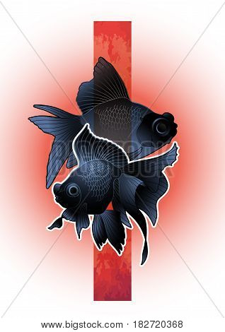 Graphic couple of telescope fish drawn with red abstract stripe on background. Vector freshwater isolated creature. T-shirt print or tattoo design
