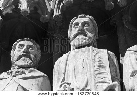 Tarragona (Catalunya Spain): exterior of the gothic cathedral detail of facade. Black and white