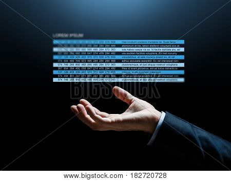 business, finance and people concept - close up of businessman hand with stock market chart over dark background