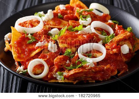 Delicious Mexican Food: Nachos With Tomato Salsa, Chicken And Cheese Close-up. Horizontal