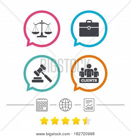 Scales of Justice icon. Group of clients symbol. Auction hammer sign. Law judge gavel. Court of law. Calendar, internet globe and report linear icons. Star vote ranking. Vector