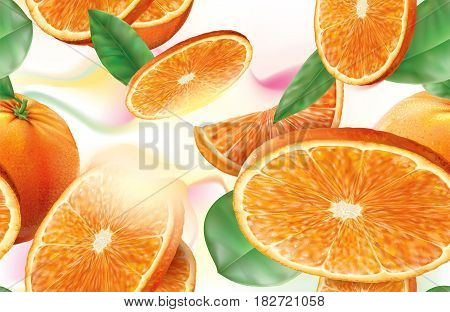 Background oranges fruits with slices and leaves. Vector