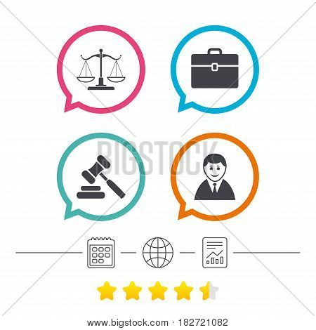 Scales of Justice icon. Client or Lawyer symbol. Auction hammer sign. Law judge gavel. Court of law. Calendar, internet globe and report linear icons. Star vote ranking. Vector