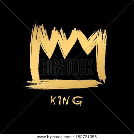 Painted with a brush crown of the king in grunge style gold on an isolated black layer.
