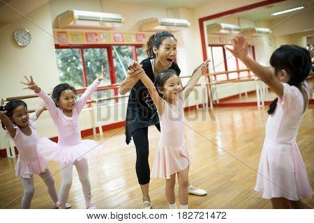 Bangkok , Thailand - November 22, 2012:  Girls in elementary school, take a course of classical dance.